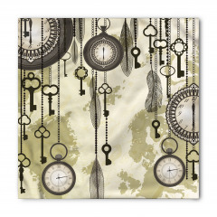 Saat ve Anahtar Temalı Bandana Fular