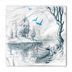Nehir ve Tekne Desenli Bandana Fular