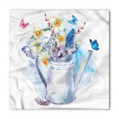 Sulu Boya Çiçekli Bandana Fular