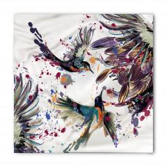 Çiçek ve Kuş Desenli Bandana Fular
