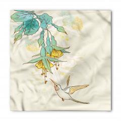 Yeşil Çiçek ve Kuş Bandana Fular