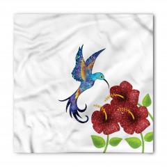 Bordo Çiçek ve Mor Kuş Bandana Fular