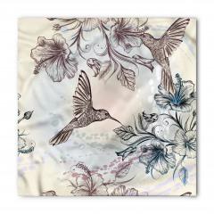 Kuş ve Çiçek Desenli Bandana Fular