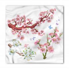 Beyaz Çiçekli Ağaç Bandana Fular