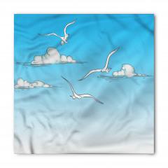 Martı ve Bulut Desenli Bandana Fular