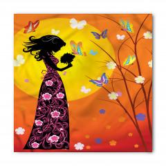 Çiçekli Elbiseli Kız Bandana Fular