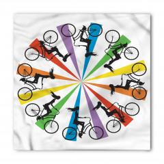 Gökkuşağı Temalı Bisikletli Kadınlar Bandana Fular