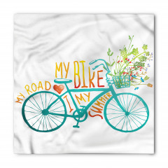 Bisiklet ve Çiçek Desenli Bandana Fular