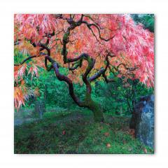 Kızıl Yapraklı Ağaç Desenli Bandana Fular