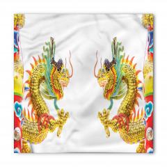 İkili Çin Ejderhaları Desenli Bandana Fular