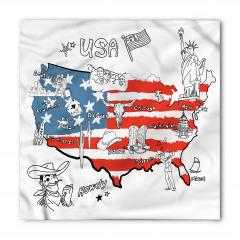 ABD Haritası Desenli Bandana Fular