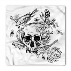 Kuru Kafa Çiçek ve Kuş Bandana Fular