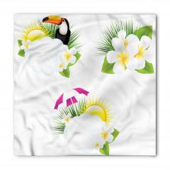 Tropik Çiçek ve Kuş Bandana Fular