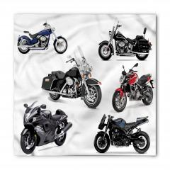 Gri Motosiklet Desenli Bandana Fular