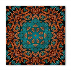 Turuncu Çiçek Desenli Bandana Fular