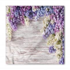 Mor Mavi Çiçek Desenli Bandana Fular