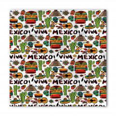 Meksika Gitar ve Kaktüs Bandana Fular