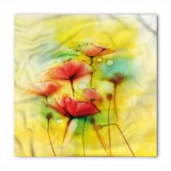 Sarı Çiçekler Desenli Bandana Fular