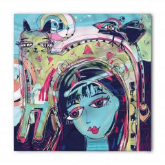 Mavi Yüzlü Kız Desenli Bandana Fular