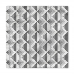 Gri Geometrik Desenli Bandana Fular