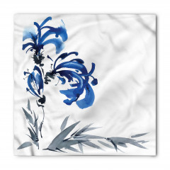 Gri Mavi Çiçek Desenli Bandana Fular