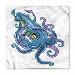 Mavi Ahtapot Desenli Bandana Fular