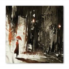 Şemsiyeli Kadın Temalı Bandana Fular