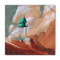 Yeşil Ev ve Gökyüzü Bandana Fular