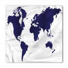 Lacivert Dünya Desenli Bandana Fular
