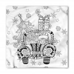 Noel Arabası Desenli Bandana Fular