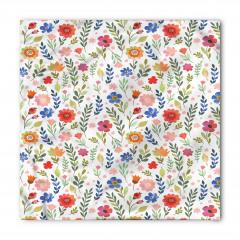 Turuncu Mavi Çiçek Bandana Fular