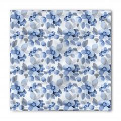 Mavi Lacivert Çiçek Bandana Fular