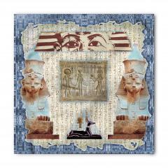 Mavi Çerçeveli Mısır Desenli Bandana Fular