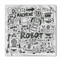 Robot Dünyası Desenli Bandana Fular
