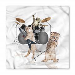 Cazcı Kedi Kardeşler Desenli Bandana Fular
