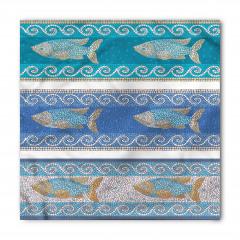 Mozaik Balık Desenli Bandana Fular