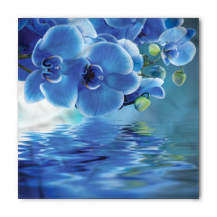 Mavi Çiçek ve Su Bandana Fular