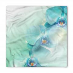 Turkuaz Çiçek Desenli Bandana Fular