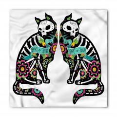 Kedi İskeleti Desenli Bandana Fular