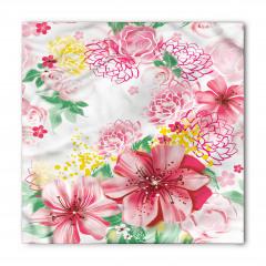 Çeyizlik Pembe Çiçekli Bandana Fular