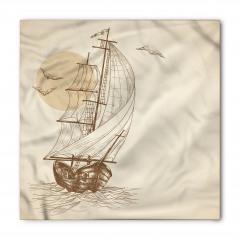 Yelkenli ve Kuş Desenli Bandana Fular