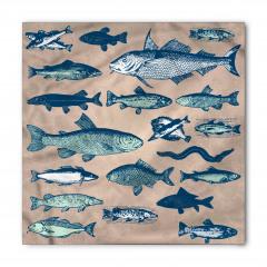 Balık Desenli Bandana Fular