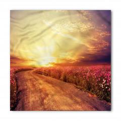 Mor Çiçekli Güneşli Yol Bandana Fular