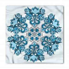 Mavi Etnik Çiçek Desenli Bandana Fular