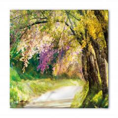 Mor Çiçekli Ağaç Bandana Fular