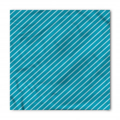 Mavi Eğik Çizgili Bandana Fular