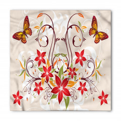 Kelebekli Çiçekli Desen Bandana Fular