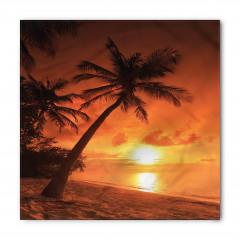 Palmiyeli Plajda Gün Batımı Bandana Fular