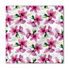 Pembe Kiraz Çiçeği Desenli Bandana Fular