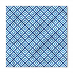 Mavi Beyaz Geometrik Desenli Bandana Fular